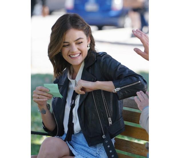 45d0a866a Pretty Little Liars Lucy Hale Black Leather Jacket