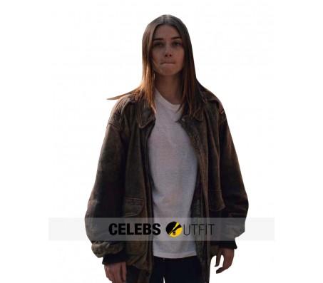 Alyssa Jessica Barden Oversized Leather Jacket