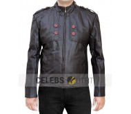Button Pocket Real Leather Jacket Brown