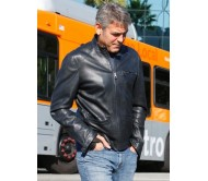 George Clooney Studio City Black Leather Jacket
