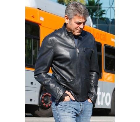 George Clooney Studio City Black Leather Jacket