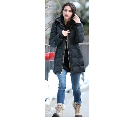 Megan Fox Black Stylish Puffer Coat