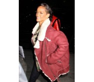New York City Rihanna Rocks A Sheepskin Jacket