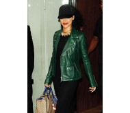 Rihanna Green Biker Leather Jacket