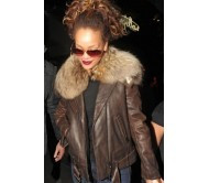 Rihanna Thick Fur Collar Brown Leather Jacket