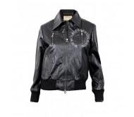 Women Black Bomber Real Leather Jacket