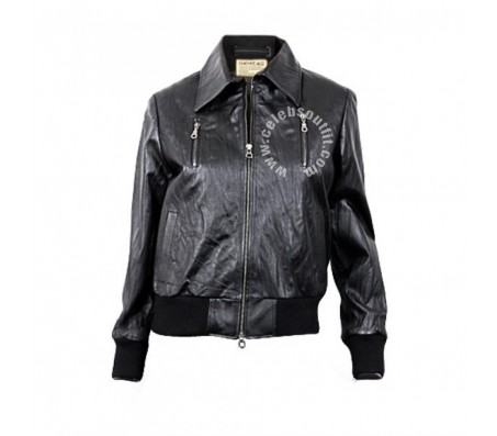 Women Black Bomber Real Leather Jacket