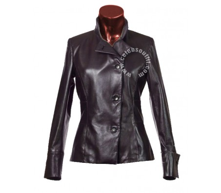 Womens fitted waist style leather jacket