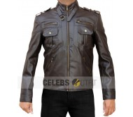 Mens Stylish Black Zip Pocket Real Leather Jacket