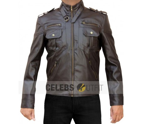 Mens Stylish Black Zip Pocket Real Leather Jacket