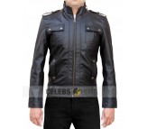 Strap Pocket Black Leather Jacket