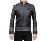 Strap Pocket Black Leather Jacket