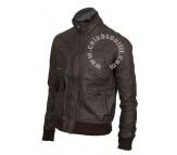 Brown Bomber 6 Pocket Real Leather Jacket
