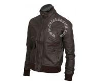 Brown Bomber 6 Pocket Real Leather Jacket