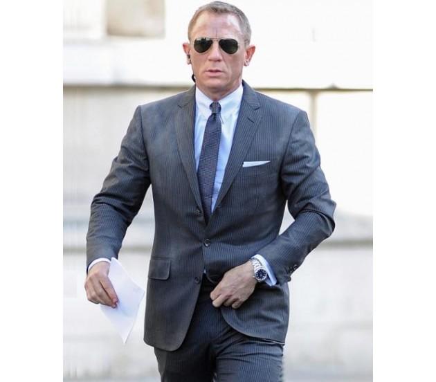 Skyfall James Bond Charcoal Stripe Suit